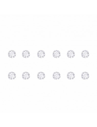 2600007 Pendientes de plata simil blanco 4 mm, 6 Pares