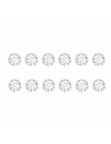 26000025  Pendientes de plata simil blanco 8 mm, 6 Pares