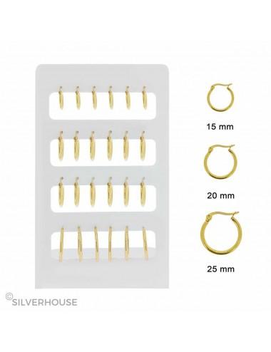 6300002 Expositor con aros de acero dorados en 15 mm, 20 mm, 25 mm, 12 pares