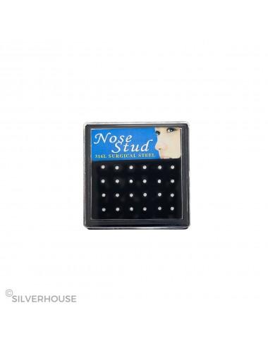 0400033 - Caja de pendientes de acero para nariz con símil blanco, 24 Unidades