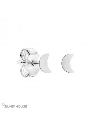 3800201-Pendiente mini de plata con media luna, 3 pares