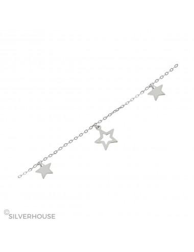 0800342 Pulsera plata rodiada estrellas microsetting charm