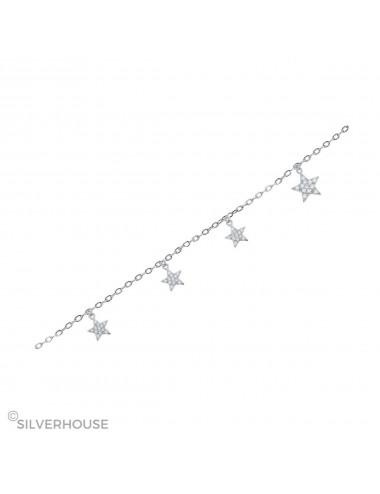 Pulsera de plata con estrellas microsetting