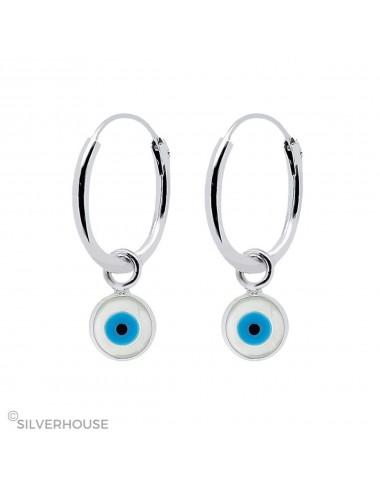 Aro de plata con charm de ojo turco turquesa
