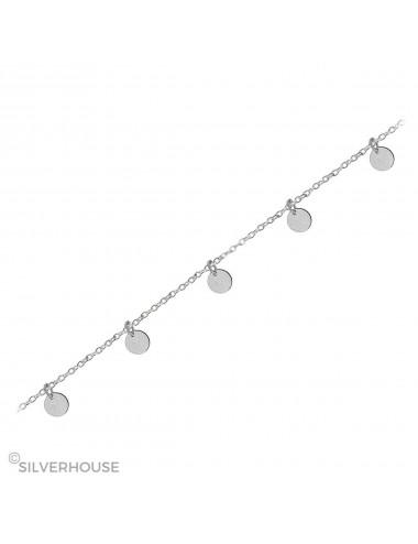 1500051- Tobillera de plata con 5 plaquit