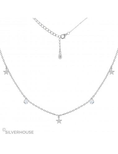 -0900367 Gargantilla de plata bañada en rodio con circonitas y estrellas