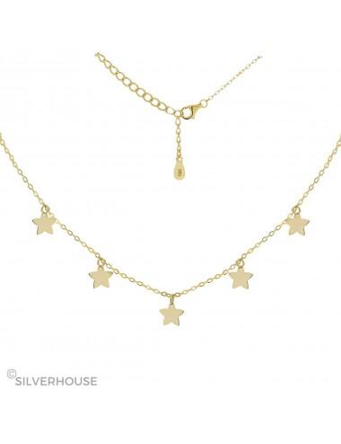 0910336 - Gargantilla de plata bañada en oro 5 estrellas