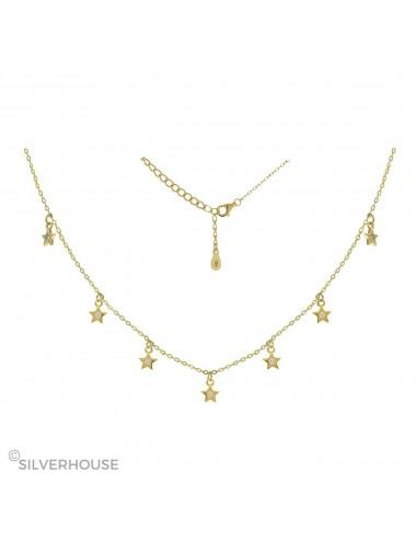 0910335 Gargantilla de plata bañada en oro 7 estrellas