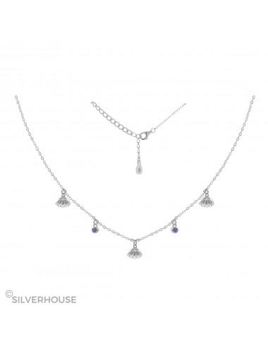 0900380- Gargantilla de plata 3 conchas