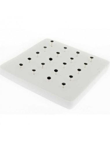 Pack20 unidades pendiente pin con esmalte negro plata piercing de nariz 2,0 mm