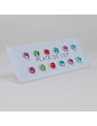 2600008 - Pendientes de botón con simil de colores surtidos 4 mm, 6 pares